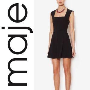 Maje little black dress sleeveless cube neckline